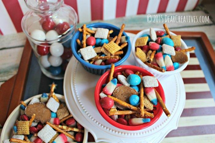 Easy Patriotic Snack Mix Dessert - Dear Creatives