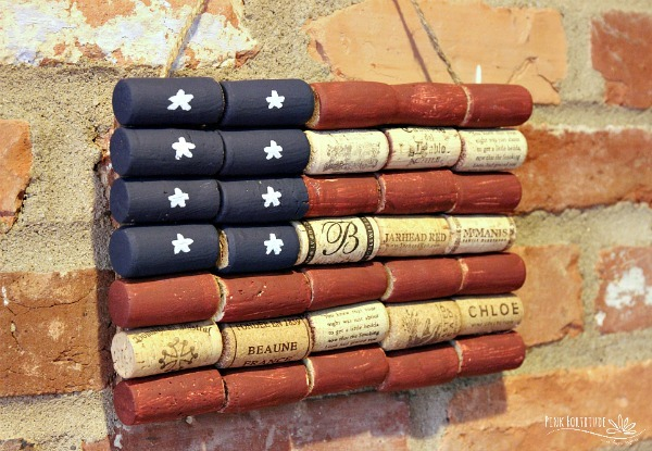 American Flag Wine Cork Upcycle Craft - Pink Fortitude