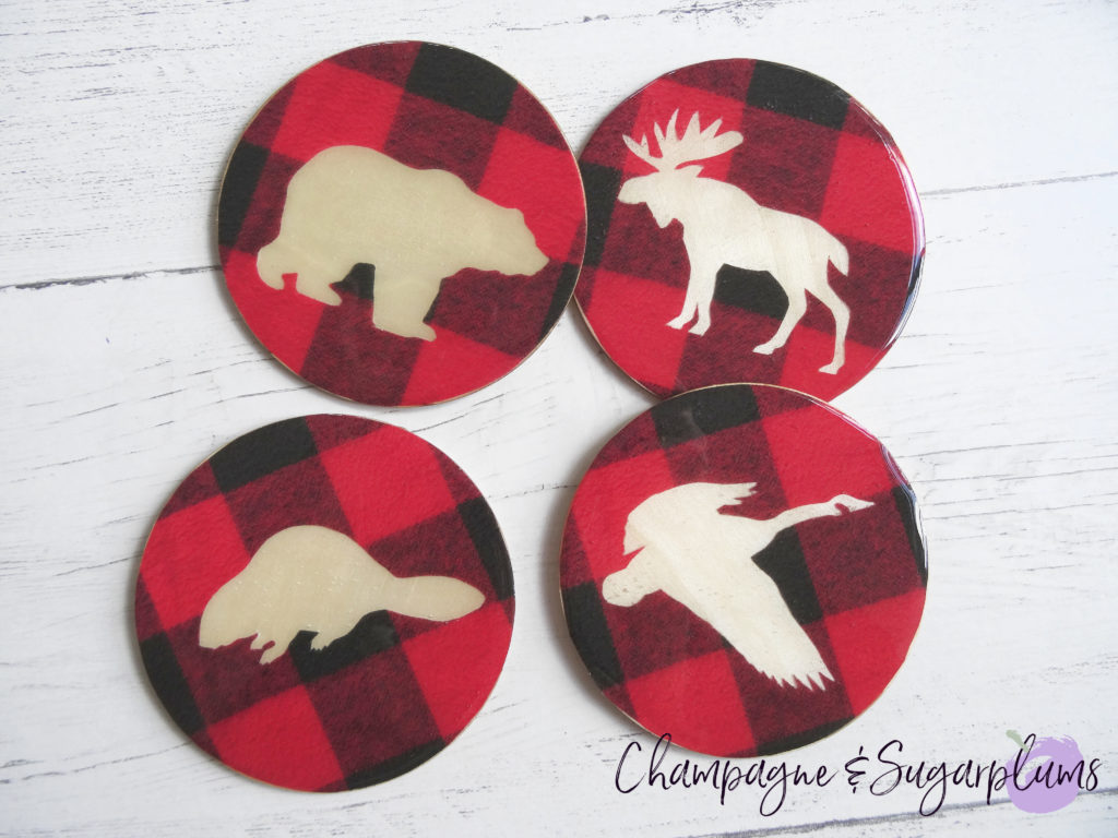 Animals of Canada Coasters on a white background by Champagne and Sugarplums