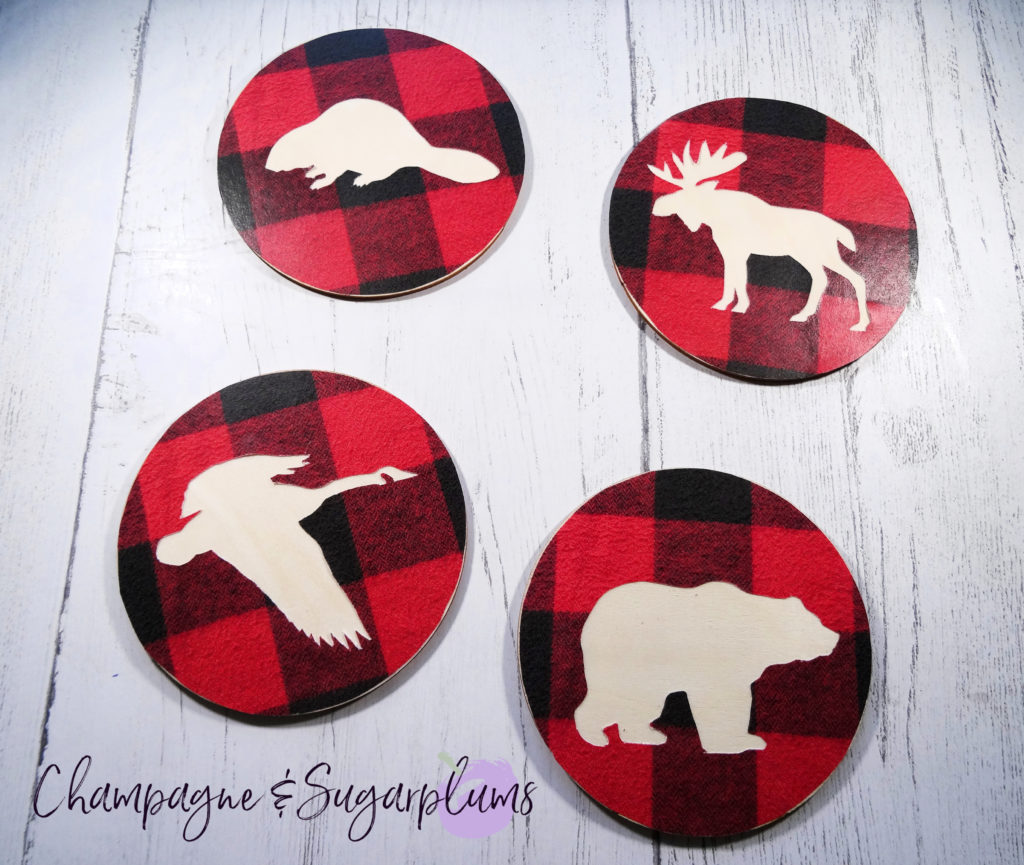 Attaching animal shaped circle to wood coaster by Champagne and Sugarplums