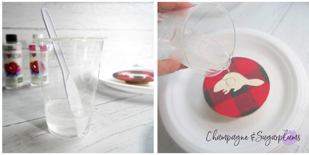 Collage of mixing resin and pouring it over a wooden coaster by Champagne and Sugarplums