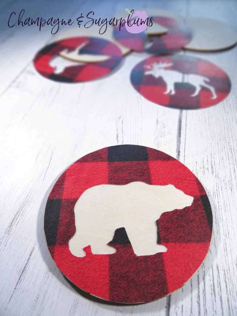 Attaching bear shaped circle to wood coaster by Champagne and Sugarplums
