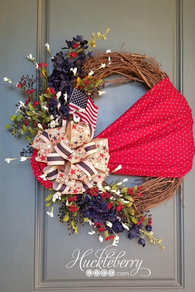 DIY Floral and Fabric Patriotic Wreath - Huckleberry Life