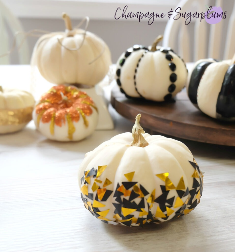 Finished decorated mini pumpkin by Champagne and Sugarplums