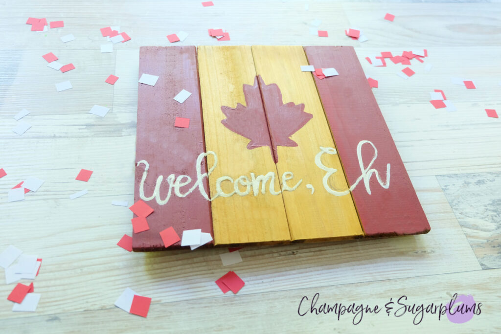 Easy DIY Canada Day Wooden Welcome Sign