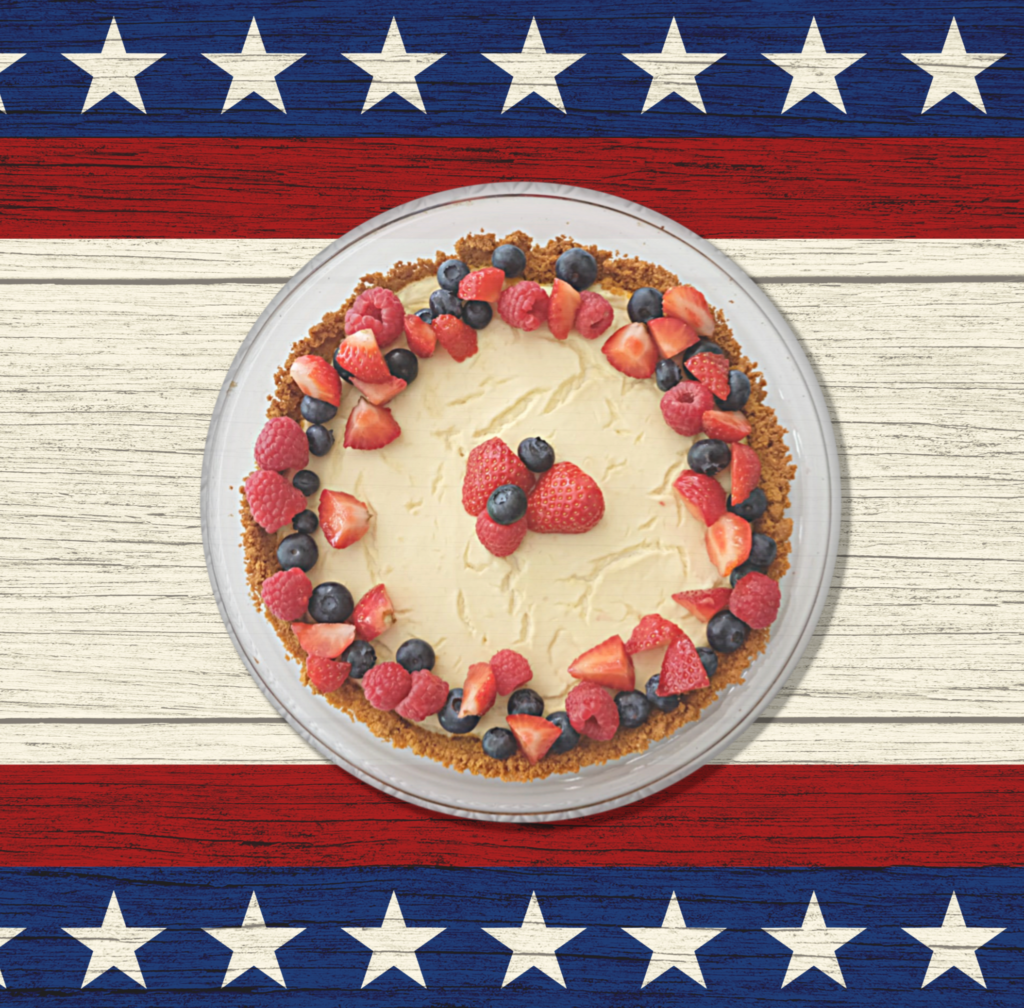 4th of July Red White and Blue Tofu and Berry Cheesecake - Champagne and Sugarplums