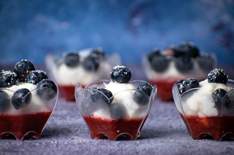 Red White & Blue Layered Fruit & Ice Cream Treat -  In the Kitch