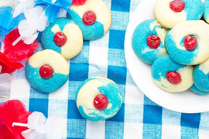 Red, White and Blue Cherry Almond Sugar Cookies - Sustain my Cooking Habit
