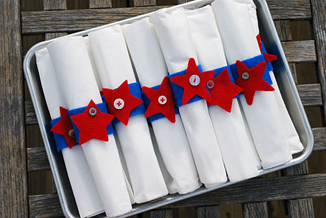 Fourth of July Felt and Button Star Napkin Rings - Merrimentdesign
