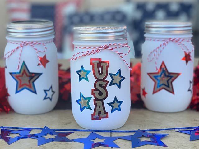 DIY Patriotic Mason Jar Lanterns - Burton Avenue