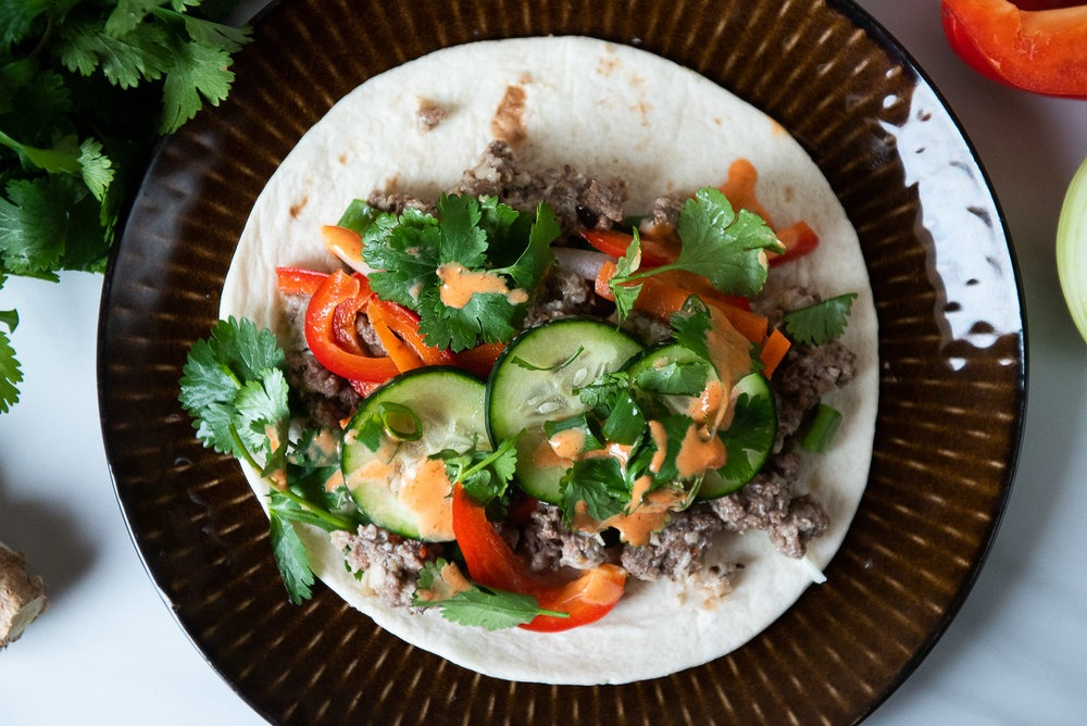 Spicy Beef and Shiitake Bahn Mi Tacos (Reduced Meat Recipe) - Compost and Cava