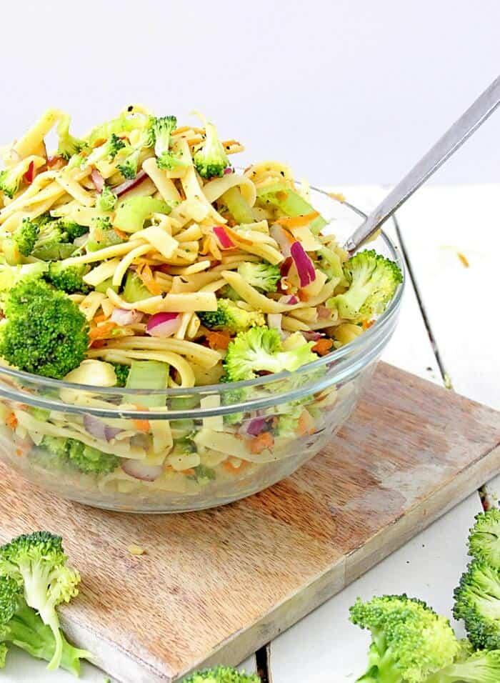 Sweet Broccoli Apple Pasta Salad - On My Kids Plate