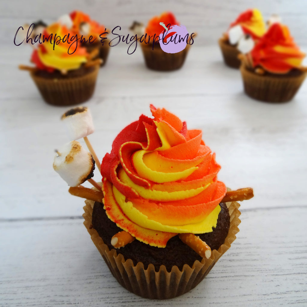 Campfire Cupcakes on a white background by Champagne and Sugarplums