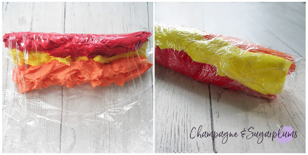 Icing wrapped in plastic wrap by Champagne and Sugarplums