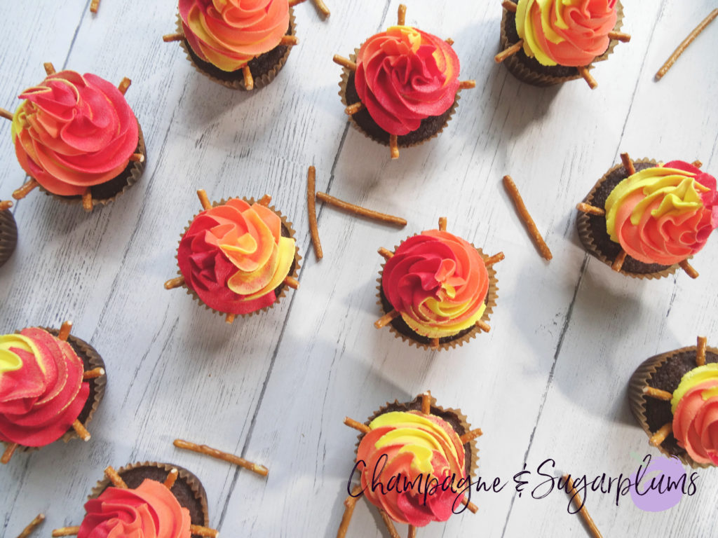 Campfire Cupcakes and pretzels on a white background by Champagne and Sugarplums