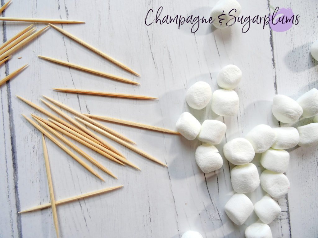 Marsh-mellows and toothpicks  by Champagne and Sugarplums
