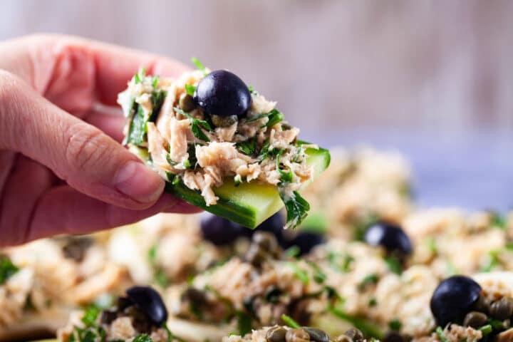 Fennel-Cucumber Bites with Creamy Tuna - My Chefs Apron