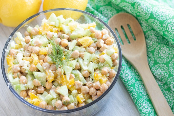 Cucumber Chickpea Salad with Lemon Dill Dressing - Moms Who Save