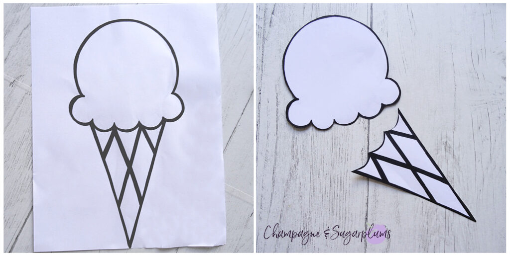 Ice Cream template on white paper by Champagne and Sugarplums