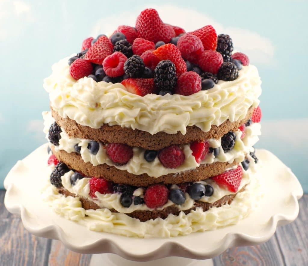 Chocolate Italian (Genoise) Sponge Cake with Berries - Food Meanderings