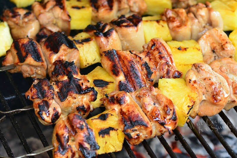 Pineapple Grilled Chicken Kebabs - Will Cook for Smiles
