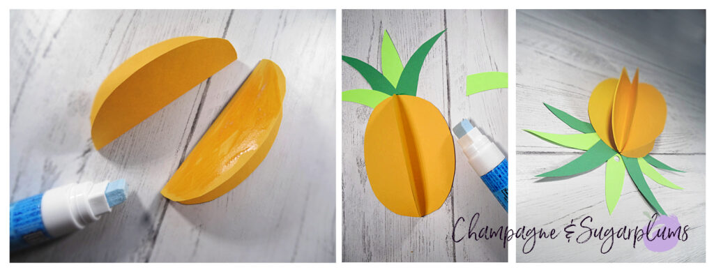 Gluing yellow paper circles together to create pineapples by Champagne and Sugarplums