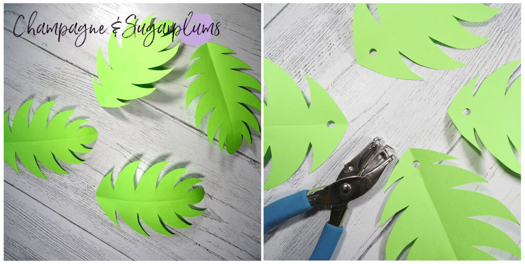 Cutting leaves from green paper by Champagne and Sugarplums