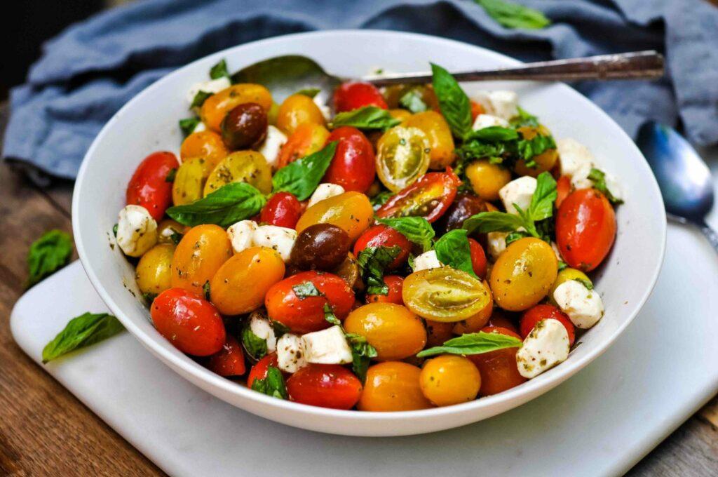 Caprese Salad with Grape Tomatoes & Mini Mozzarella - Healthy Christian Home