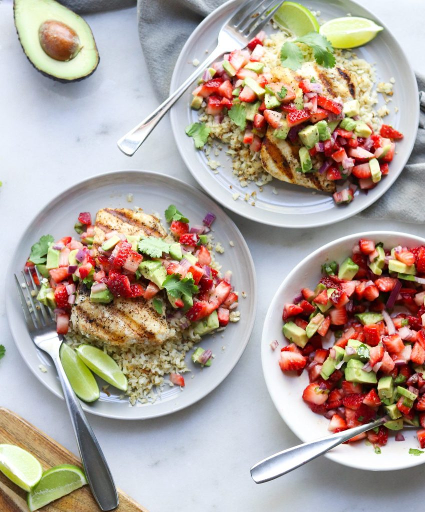 Grilled Halibut & Strawberry Avocado Guacamole - Cook At Home Mom