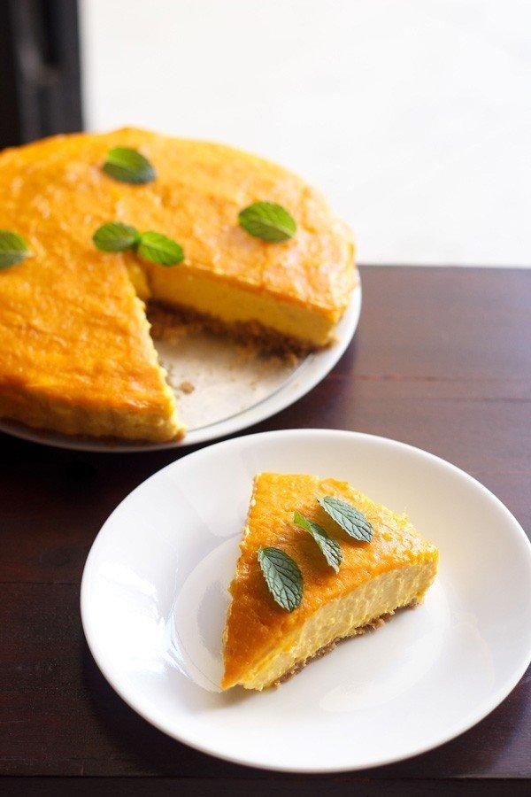 Mango Cheesecake, No Bake Eggless Mango Cheesecake - Veg Recipes of India