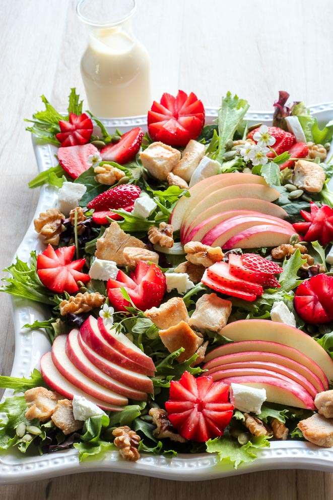 Strawberry Chicken Salad with Creamy Maple Dressing - Delicious On A Dime