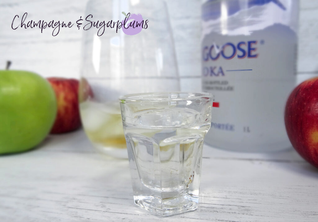 Vodka in a shot glass by Champagne and Sugarplums