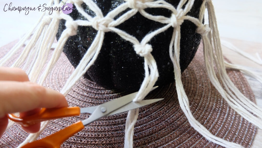Cutting the ends of the Macrame by Champagne and Sugarplums