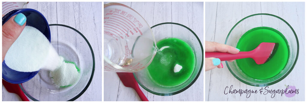 Collage of how to make lime jelly by Champagne and Sugarplums