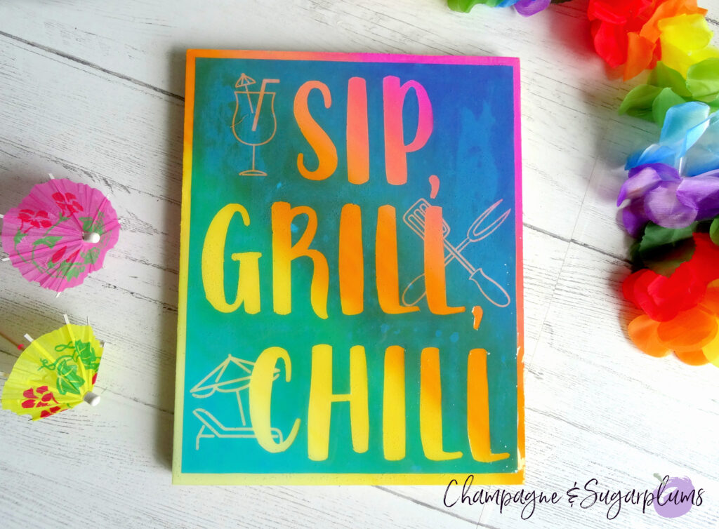 DIY Sign for Summer on a white background surrounded by colourful flowers by Champagne and Sugarplums