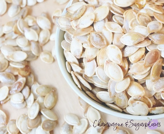 The Perfect Pumpkin Spice Roasted Pumpkin Seeds by Champagne and Sugarplums