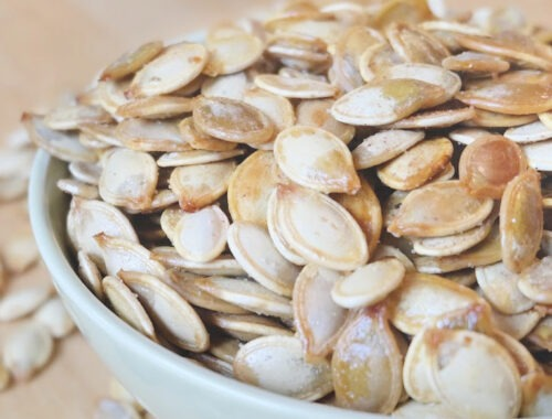 pumpkin spice roasted pumpkin seeds by champagne and sugarplums