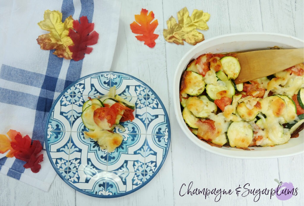 Easy Zucchini Tomato Bake with Parmesan by Champagne and Sugarplums