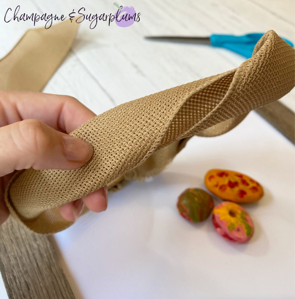 Twist the burlap for Fall Frame by Champagne and Sugarplums