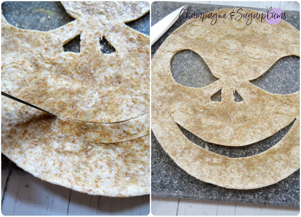 Cutting a scary smile into a tortilla on a grey cutting board by Champagne and Sugarplums