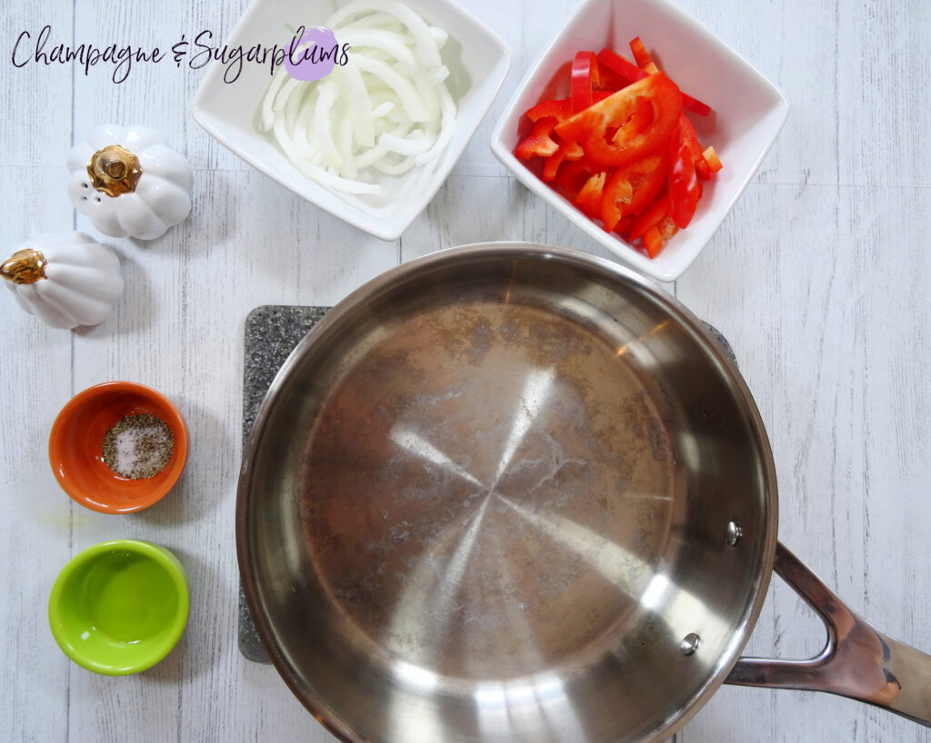 Ingredients ready to cook in a pan by Champagne and Sugarplums