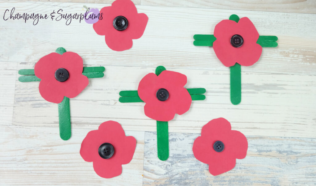 Popsicle Stick Poppy Kids Craft by Champagne and Sugarplums