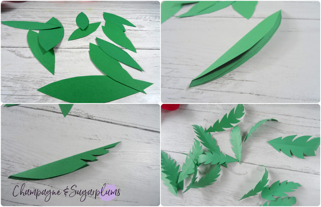 Step by step of how to make green paper leaves by Champagne and Sugarplums
