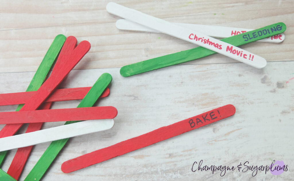 Christmas Popsicle Stick Bucket List Craft by Champagne and Sugarplums