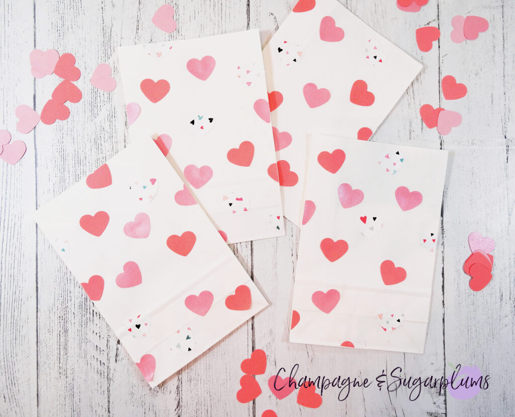 Valentine Treat Bags with pink hearts on white background by Champagne and Sugarplums