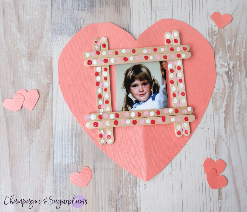 Popsicle Stick Painted Valentine Frame for Kids to Make