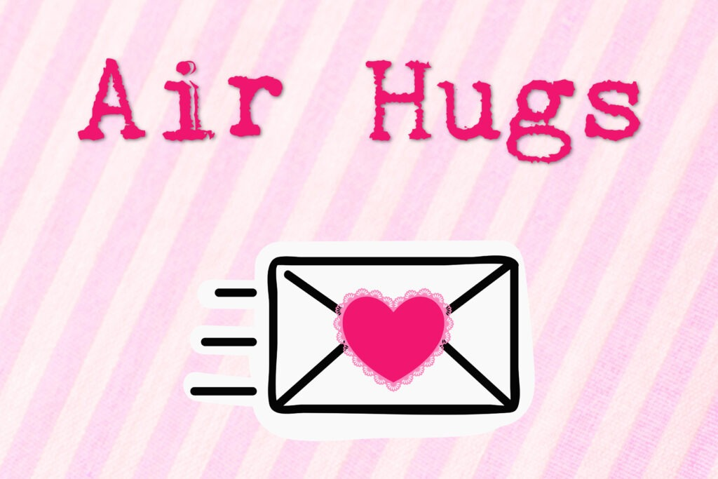 Free printable COVID themed pink striped Valentine card with an envelope and 'Air Hugs' on it by Champagne and Sugarplums