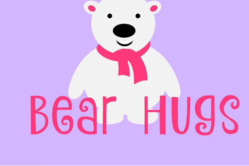Free printable lavender Valentine card with a polar bear wearing a pink scarf and 'bear hugs' on it by Champagne and Sugarplums