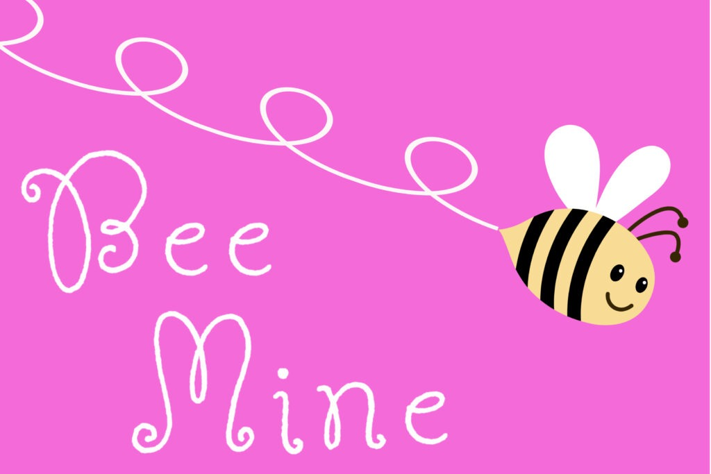 Free printable pink Valentine card with a bee and 'bee mine' written on it by Champagne and Sugarplums