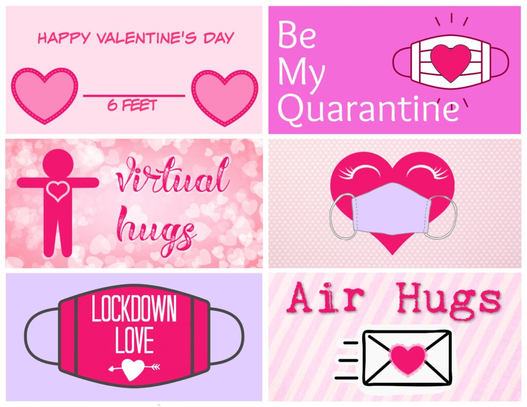 Six free printable Valentine cards in a pink and lavender colour pallet by Champagne and Sugarplums